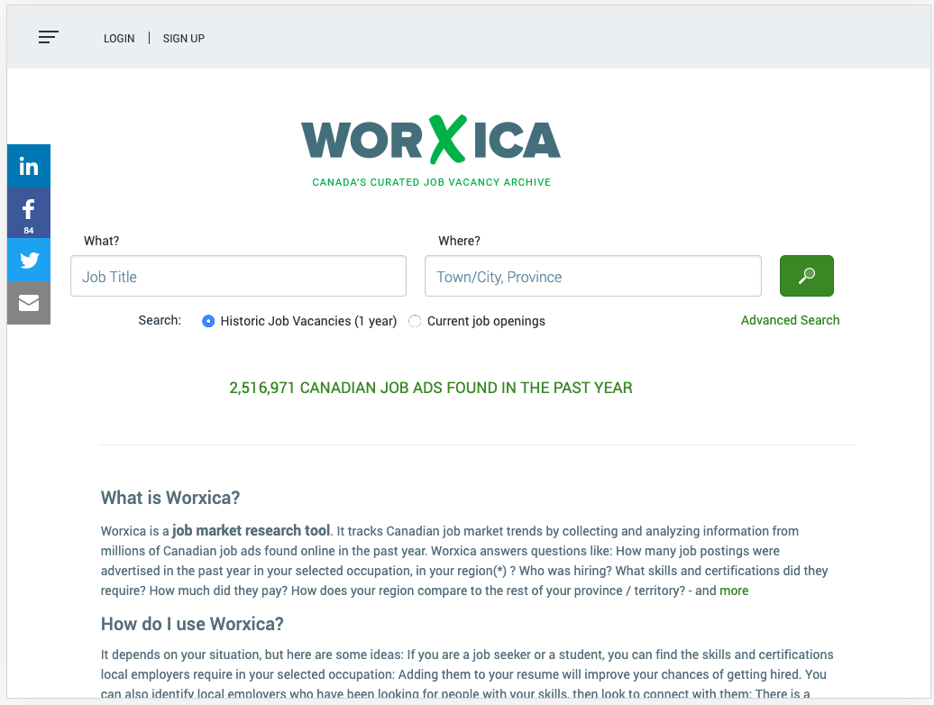 Homepage for Worxica